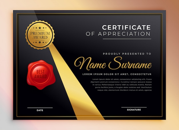 Modèle de certificat polyvalent premium noir et or