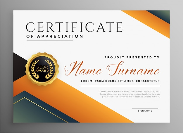 Modèle de certificat polyvalent professionnel dans un style géométrique
