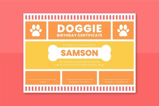 Modèle de certificat pour animaux de compagnie en grille