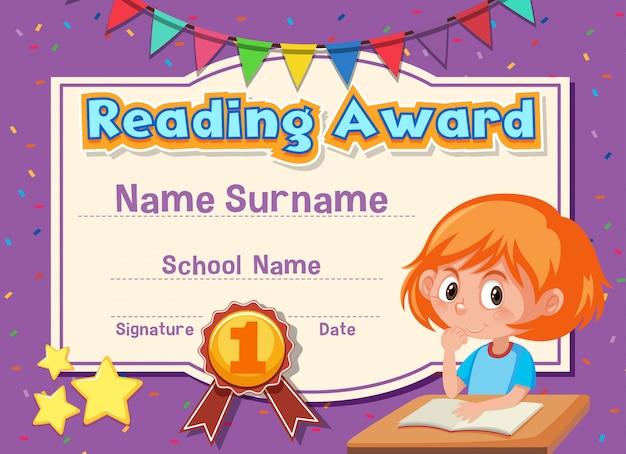 Modèle de certificat pour la lecture du prix avec une fille lisant