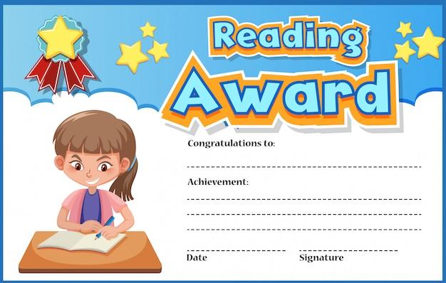 Modèle de certificat pour lire le prix avec une fille lisant