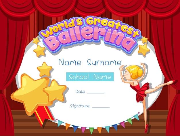 Modèle de certificat pour la plus grande ballerine du monde