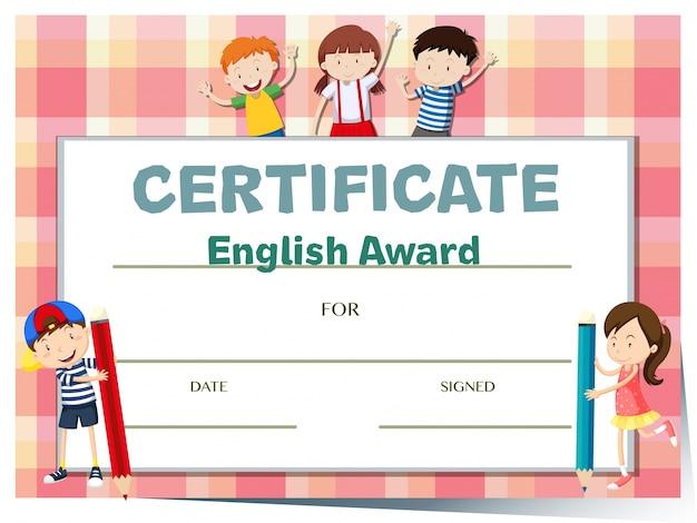 Modèle de certificat pour le prix en anglais avec beaucoup d'enfants