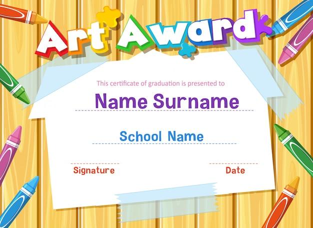 Modèle de certificat pour le prix de l'art avec des crayons de couleur