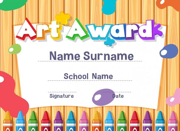 Modèle de certificat pour le prix de l'art avec des peintures