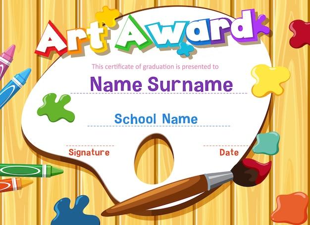 Modèle de certificat pour le prix de l'art avec un pinceau et des peintures
