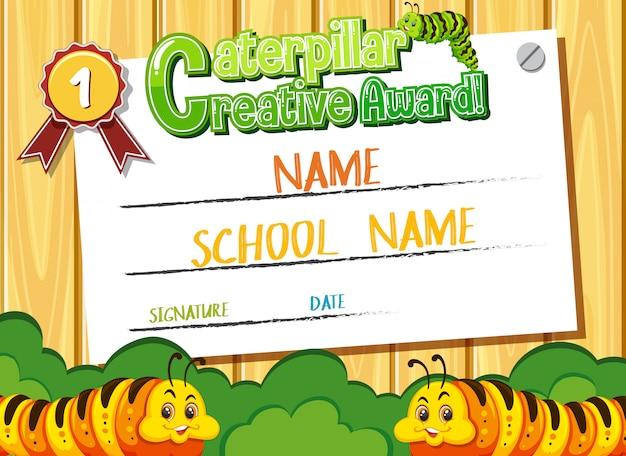 Modèle de certificat pour le prix créatif de caterpillar