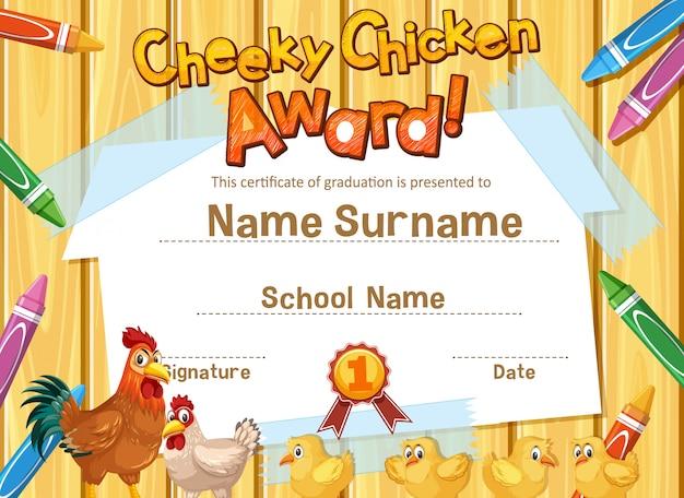Modèle de certificat pour le prix du poulet effronté