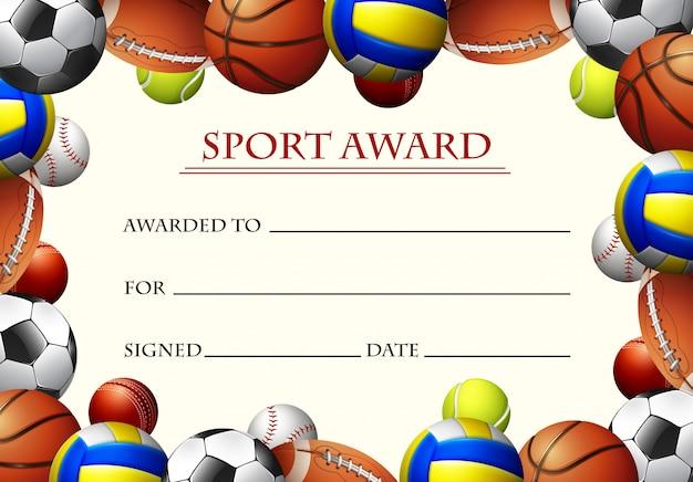 Modèle de certificat pour le prix du sport