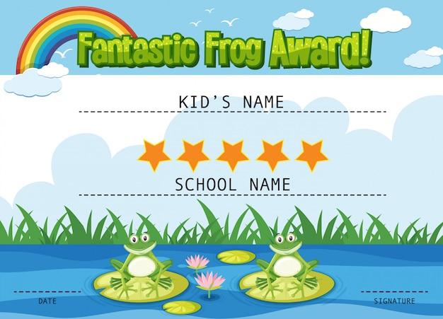 Modèle de certificat pour un prix fantastique avec des grenouilles dans l'étang