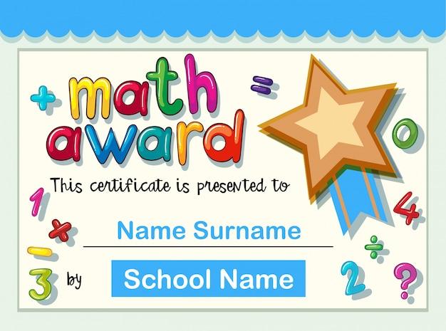 Modèle de certificat pour le prix de mathématiques avec étoile d'or