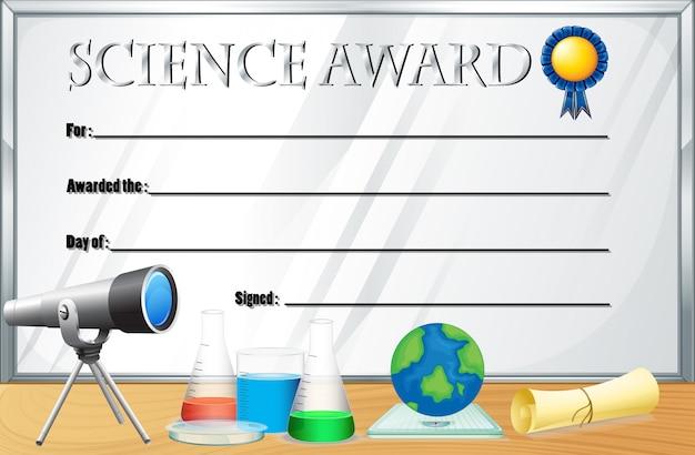 Modèle de certificat pour le prix de la science