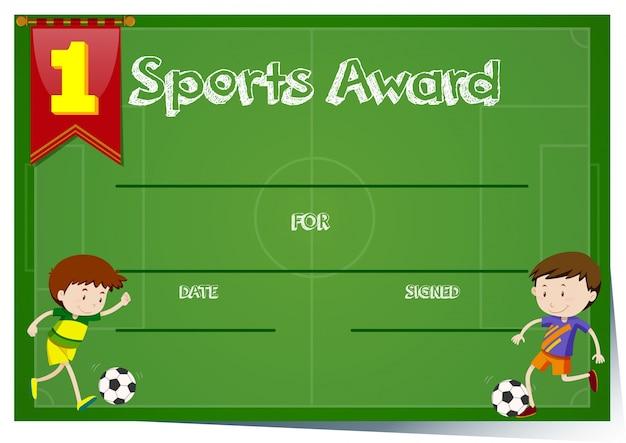 Modèle de certificat pour le prix sportif
