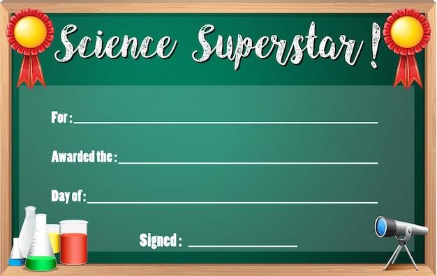 Modèle de certificat pour la superstar scientifique