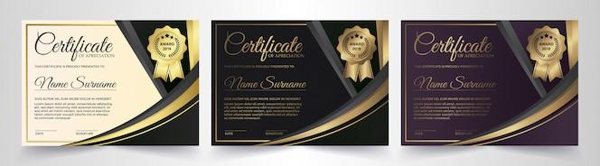 Modèle de certificat premium noir doré
