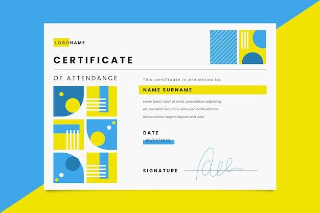 Modèle de certificat de présence plat moderne