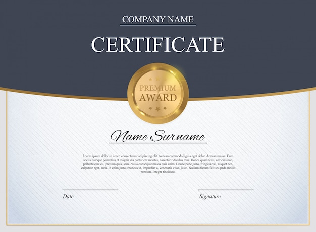 Modèle de certificat. prix de conception de diplôme vide.