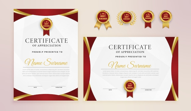 Modèle de certificat de récompense élégante en or rouge
