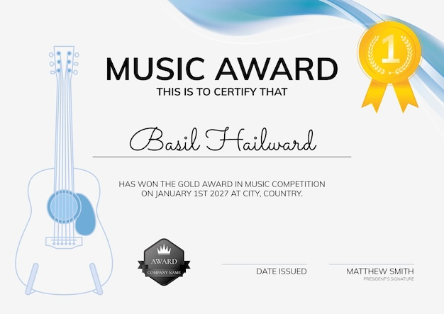 Modèle de certificat de récompense musicale avec un design minimaliste d'illustration de guitare