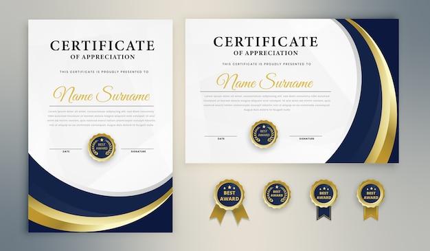 Modèle de certificat de récompense d'or bleu