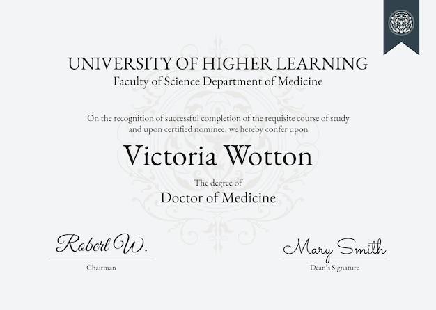 Modèle de certificat de récompense professionnelle au design classique