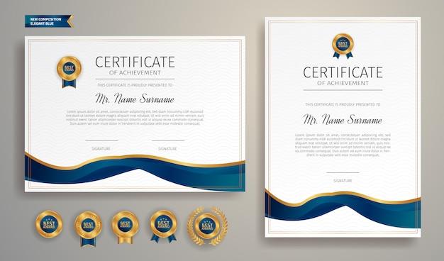 Modèle de certificat de réussite bleu et or avec badge et bordure vecteur a4