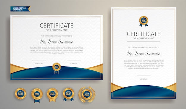 Modèle de certificat de réussite bleu et or avec badge