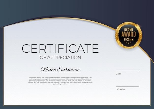 Modèle de certificat de réussite bleu et or fond avec insigne d'or et bordure. prix de conception de diplôme vide.