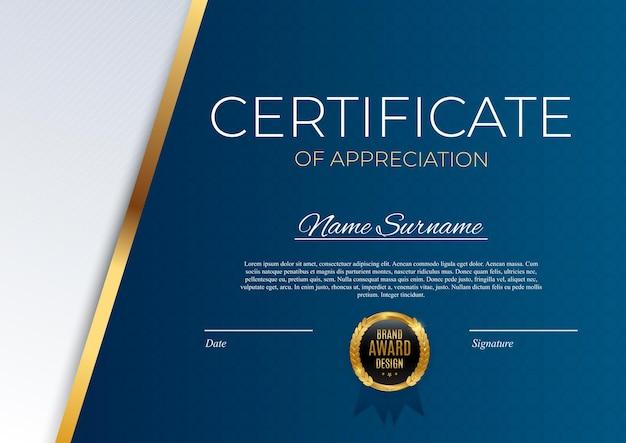 Modèle de certificat de réussite bleu et or avec insigne or et bordure. conception de diplôme