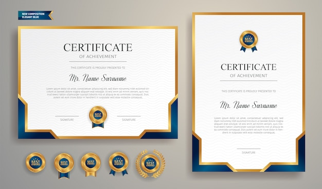 Modèle de certificat de réussite bleu et or moderne avec badge