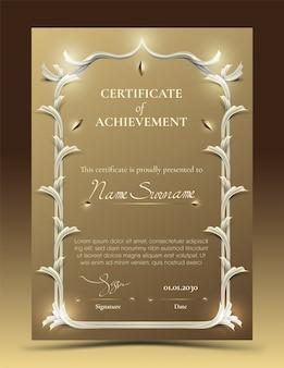 Modèle de certificat de réussite avec bordure dorée traditionnelle