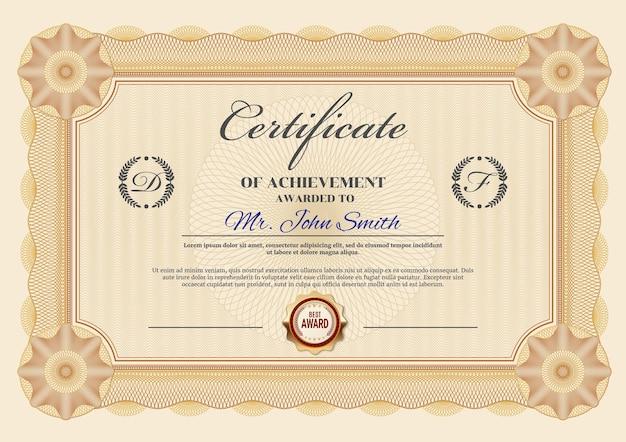 Modèle de certificat de réussite ou de diplôme