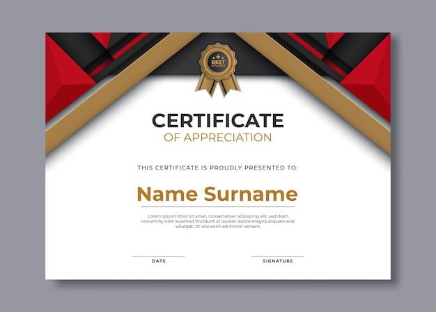 Modèle de certificat de réussite élégant avec des formes dorées