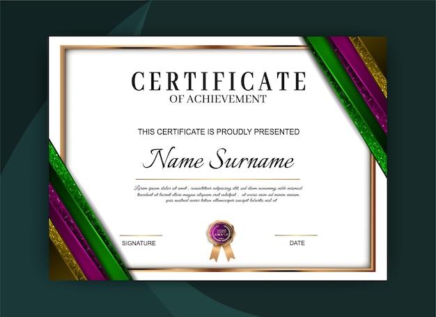 Modèle de certificat de réussite élégant