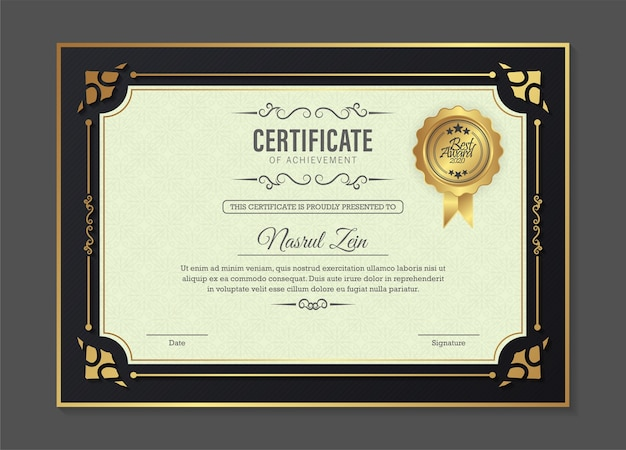 Modèle de certificat de réussite en or vintage
