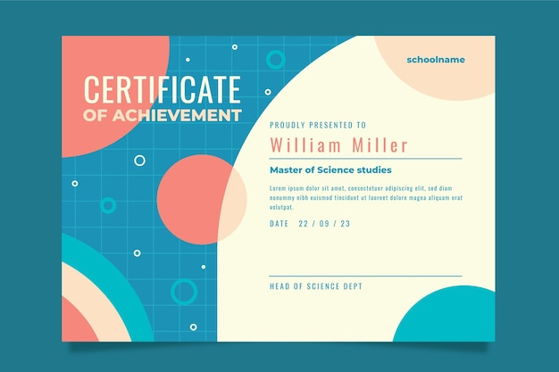 Modèle de certificat de réussite plat moderne