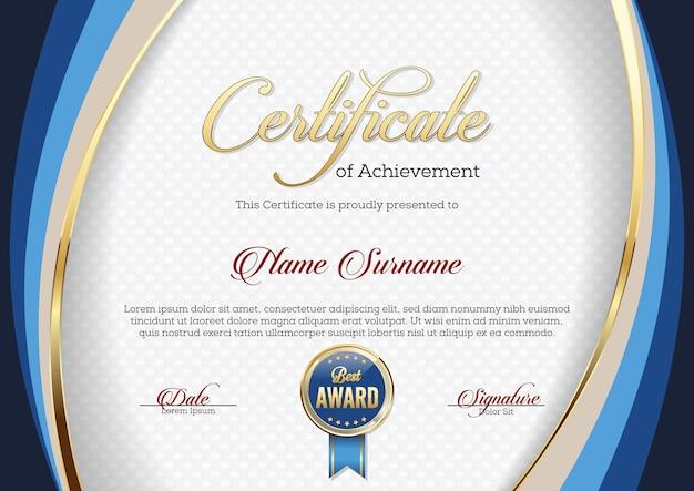 Modèle de certificat de réussite premium