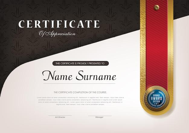 Modèle de certificat avec style de luxe