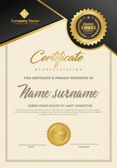 Modèle de certificat avec une texture élégante et luxueuse