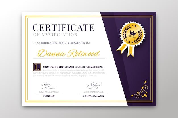 Modèle de certificat avec un thème élégant