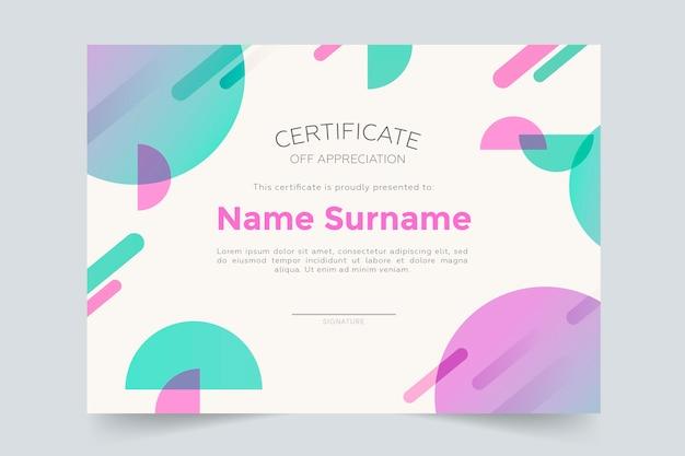 Modèle de certificat de tons pastel géométriques colorés