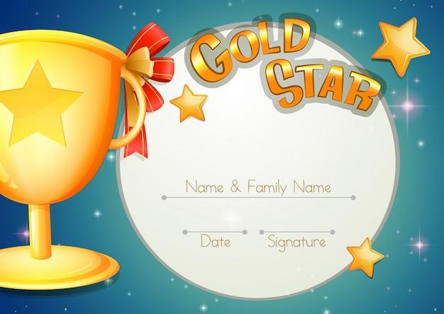 Modèle de certificat avec trophée et étoiles