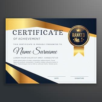 Modèle de certificat avec vecteur de formes dorées et noires
