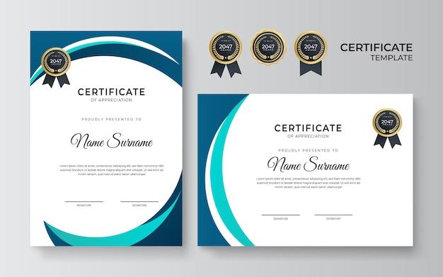 Modèle de certificat vert bleu simple moderne propre dan sur fond blanc. modèle de certificat de réussite avec badge doré et bordure