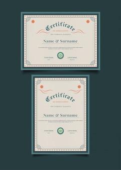 Modèle de certificat vintage avec cadre ornemental abstrait