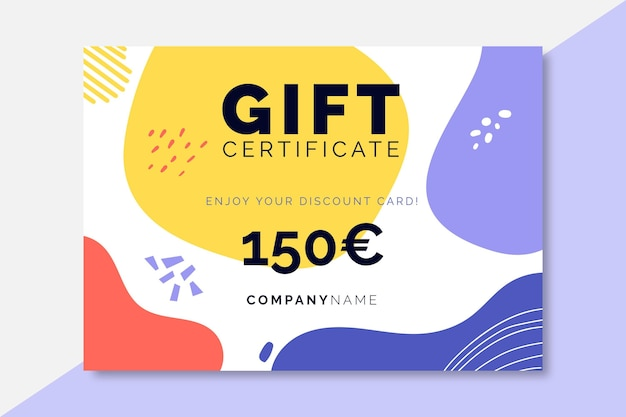 Modèle de certificats de vente colorés dessinés à la main