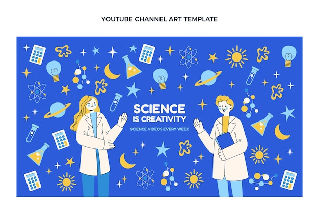 Modèle de chaîne youtube science design plat