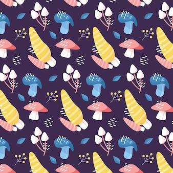 Modèle de champignon dessiné main coloré
