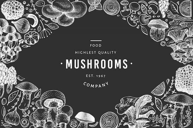 Modèle de champignons noir et blanc.