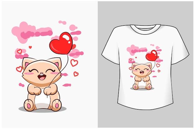 Modèle de chat mignon avec illustration de dessin animé de ballon de coeurs